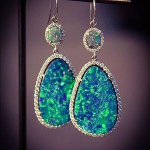 Antique 925 Sterling Silver Blue Opal Earrings